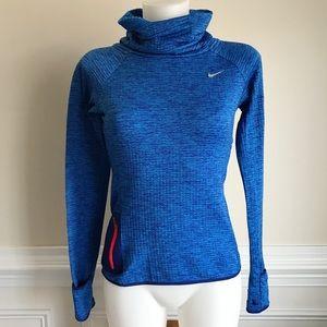 NIKE blue running cowlneck dri-fit sweater